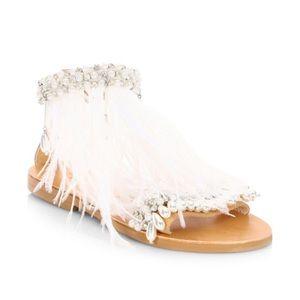 Elina Linardaki leather pearl feather sandals